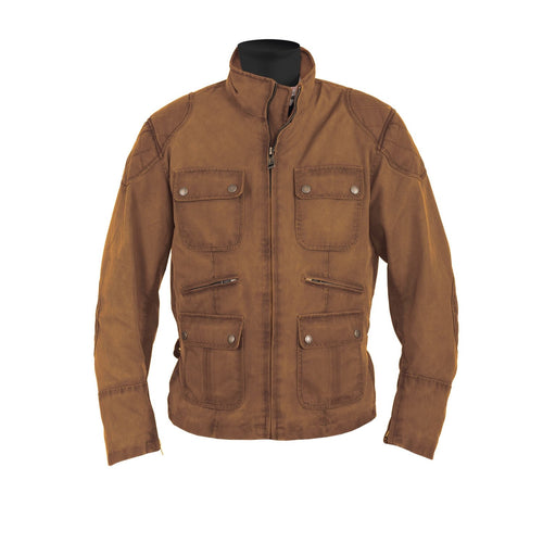 HELSTONS HUNT TEXTILE WAX COTTON JACKET - OAK