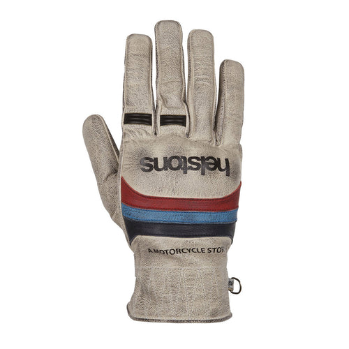 HELSTONS MORA SUMMER LEATHER GLOVE - BEIGE/BLUE/RED