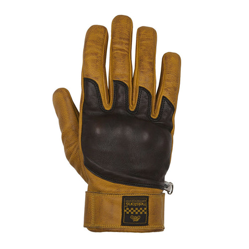 HELSTONS WOLF SUMMER LEATHER GLOVE - GOLD/BROWN