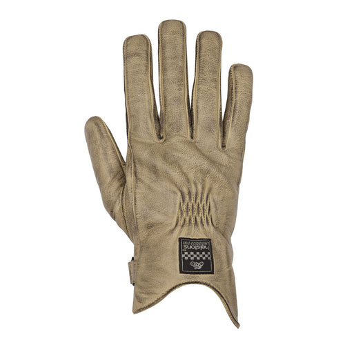 HELSTONS LADIES SWALLOW SUMMER LEATHER GLOVE - BEIGE/BLACK