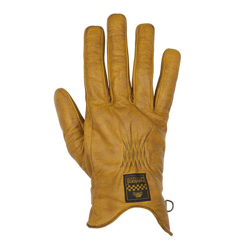 HELSTONS LADIES SWALLOW SUMMER LEATHER GLOVE - GOLD/BROWN