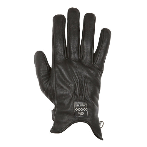 HELSTONS LADIES SWALLOW SUMMER LEATHER GLOVE - BLACK