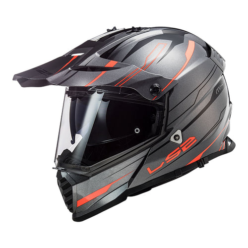 LS2 PIONEER HELMET - EVO KNIGHT TITANIUM/ORANGE