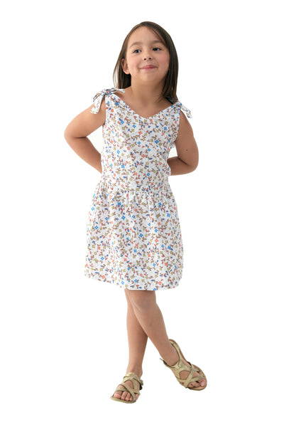 Bow-Tie-Shoulder Floral Sundress - White Printed (GDS 309)