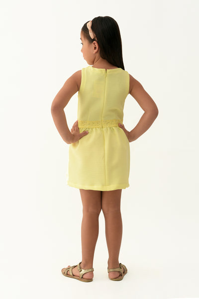 Accented Waist Fit & Flare Dress - Yellow (GDS 304)