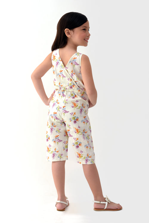 Floral Cropped Jumpsuit - White Printed (GJP 022)