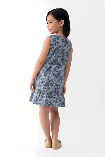 Printed Drop Waist Dress - Navy (GDS 325)