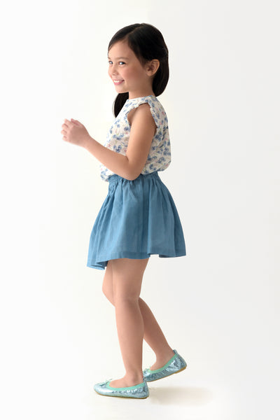 Ruffled Sleeve Top & Chambray Skirt Set (GSET 016)