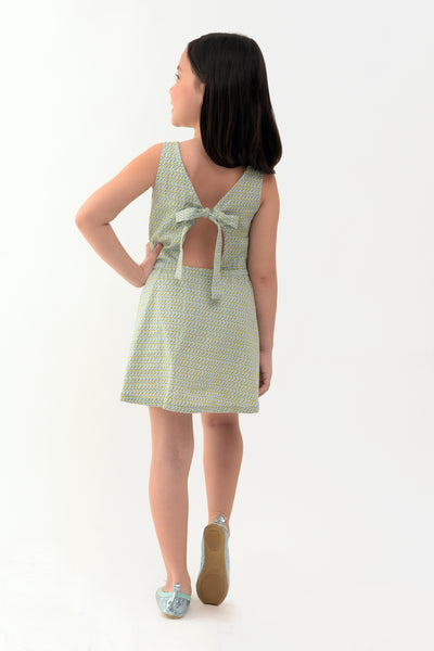 Floral Dress with Open Back Detail - Light Green Printed (GDS 303)