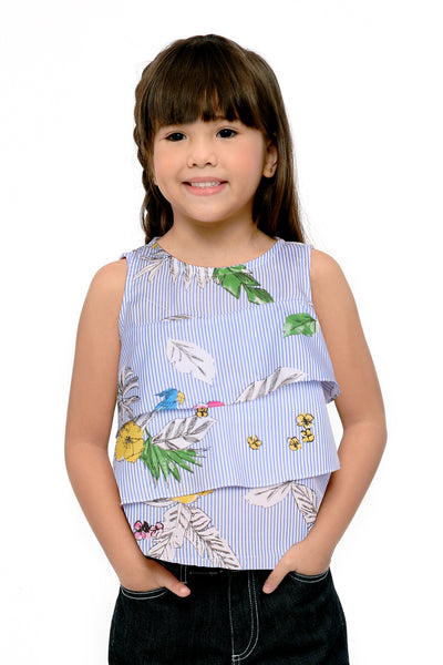 Striped Ruffled Sleeveless Tee - Blue (GBL 389)