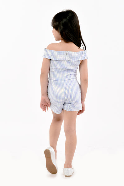 Off-shoulder Gingham Romper Shorts (GJP 036)