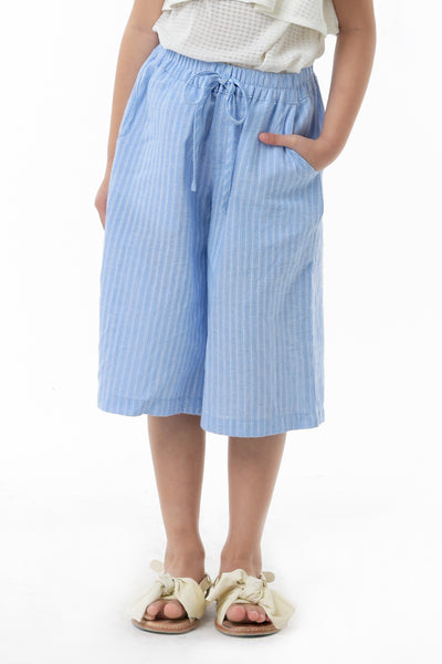Drawstring Stripes Culottes - Light Blue (GPC 035A)