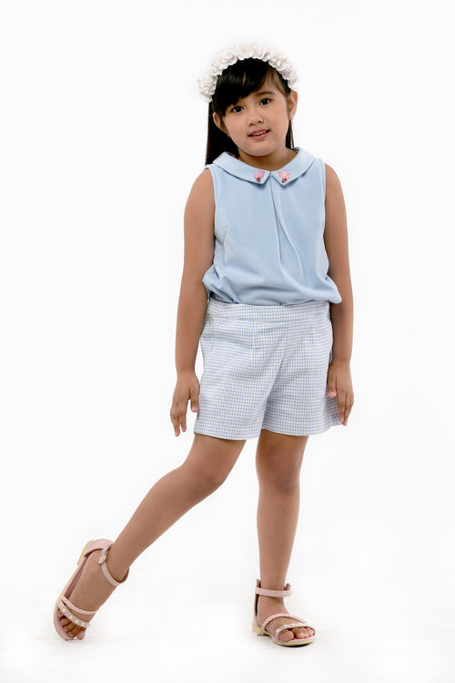 Collared Sleeveless Top & Plaid Shorts Set (GSET 043)