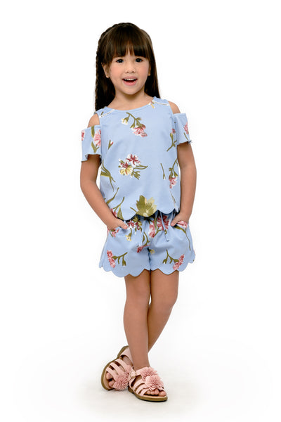Floral Cold-Shoulder Top & Scallop Shorts Set (GSET 044)
