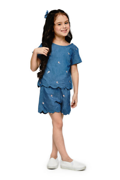 Scallop Top and Shorts Set (GSET 059)