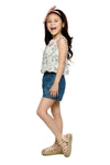 Floral Top & Denim Shorts (GSET 073)