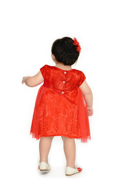 Floral Tulle Dress - Red (IGDS 153)