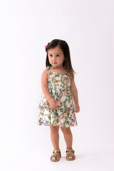 Floral Strappy Onesie with Tiered Skirt Overlay - Floral (IGST 025)