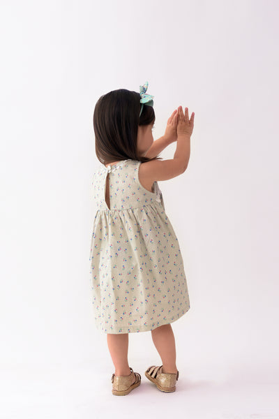 Floral Dress with Trim Details - Light Gray Printed (IGDS 090)