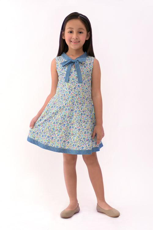 Floral Sleeveless Dress with Bow - Blue Printed (GDS 324)