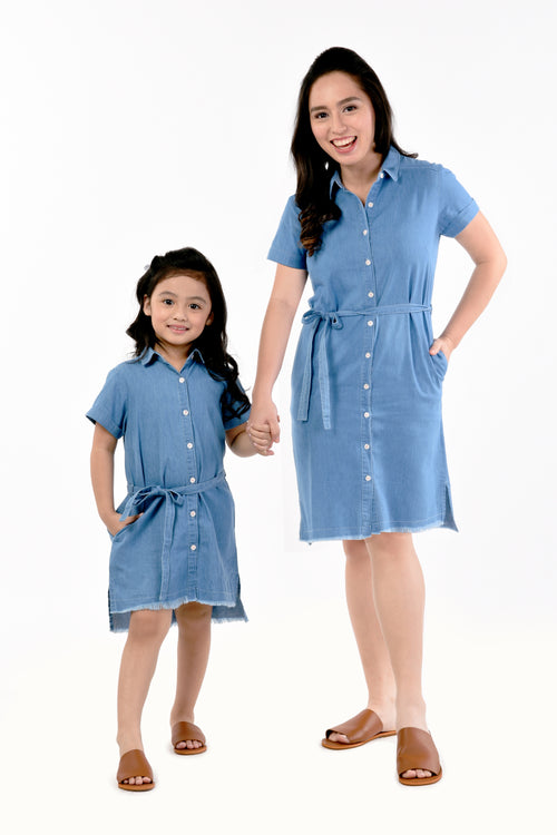 Collared Button-down Shirt Dress - Chambray (MDS-049)