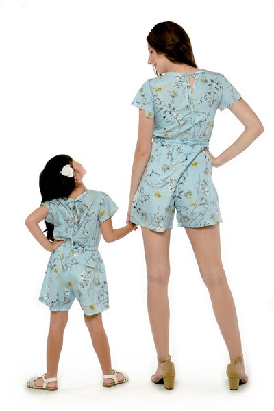 Floral Romper - Light Blue (MJP 048)