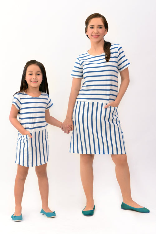Striped Shift Dress with Pockets (MDS 044)