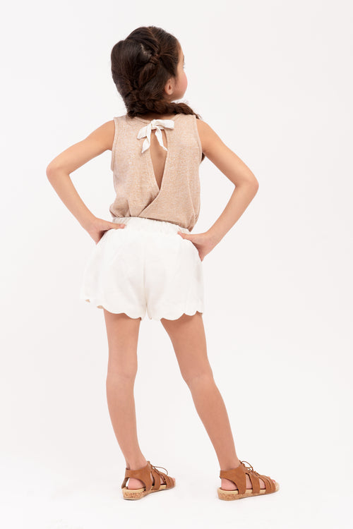 Back Slit Knit Top with Rosettes - Khaki (GBL 371)
