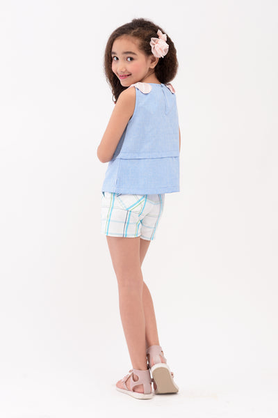 Bow on Shoulder Sleeveless Top - Blue (GBL 372)