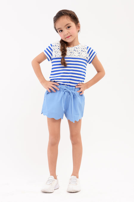 Striped Ruffled Sleeveless Tee (GBL 389)