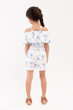 Strappy Printed Romper Shorts - White Printed (GJP 024)