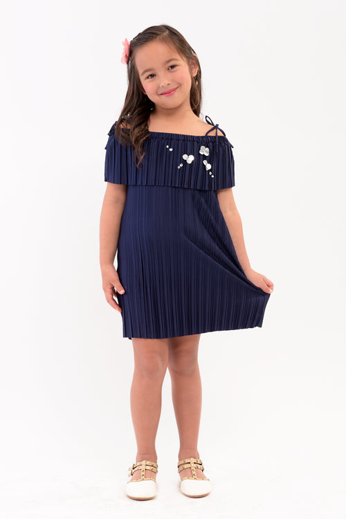Strappy Cold Shoulder Pleated Dress (GDS 343)