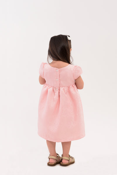 Cap Sleeves Jacquard Dress - Pink (IGDS 086A)