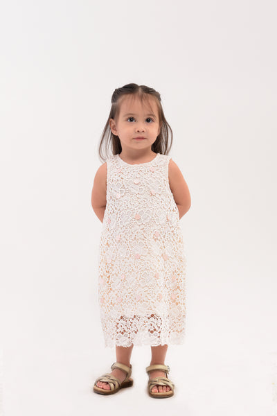 All Over Lace Long Dress - Ivory (IGDS 084A)