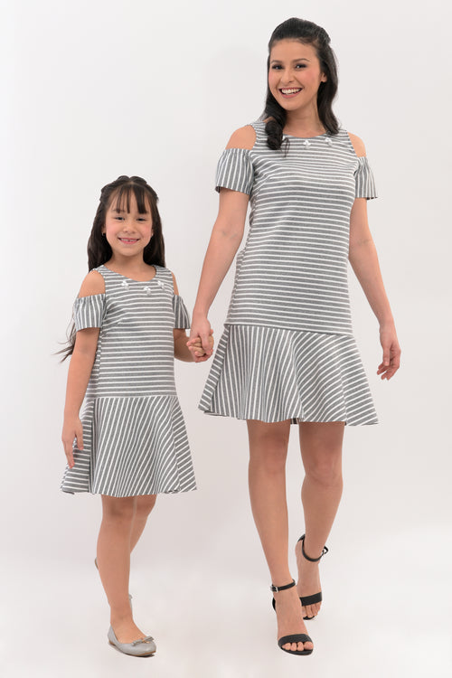 Cold Shoulder Dropwaist Dress - Gray Stripes (MDS 041)