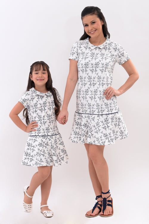 Collared Printed Dropwaist Dress - White (MDS 045)