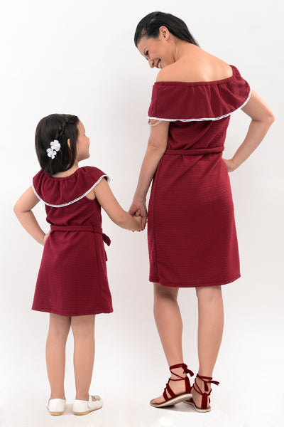 Bardot Shift Dress - Maroon (MDS 038B)