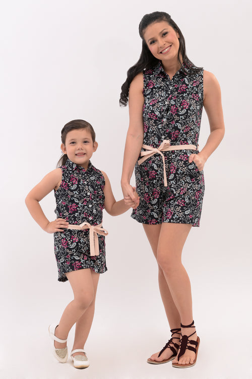 Collared Button Down Romper - Black Printed (MJP 007B)