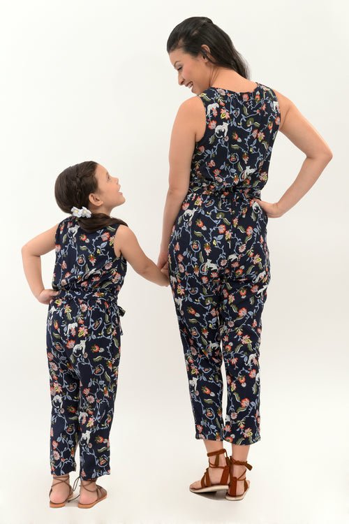 Floral Sleeveless Printed Jumpsuit - Navy Blue Printed (MJP 010)