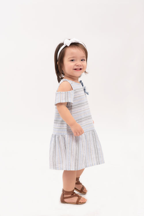 Cold Shoulder Drop waist Dress - Blue Stripes (IGDS 097)