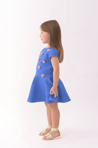 Cap Sleeve Fit & Flare Dress - Blue (GDS 338)