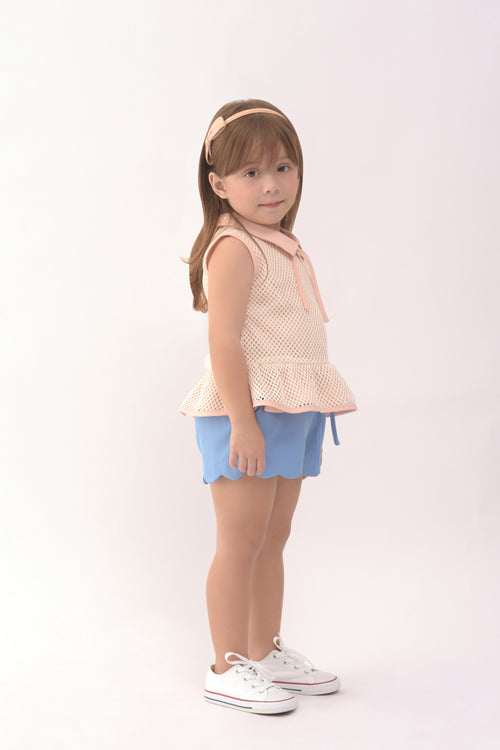 Collared Peplum Top - Light Pink (GBL 368)
