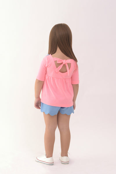 Babydoll Knit Top with Flowers - Pink (GBL 346)
