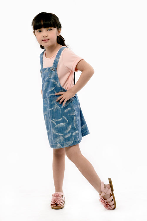 Knit Tee Jumper Skirt Set - Denim (GSET 037)