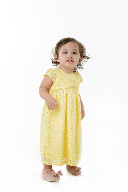 Cap Sleeve Dress with Knot Detail - Yellow (IGDS 100)