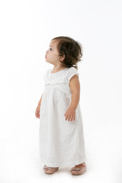 Cap Sleeve Dress with Knot Detail - Off White (IGDS 100)