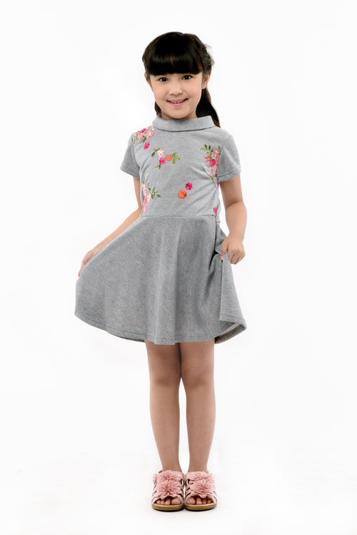 Embroidered Lace Dress - Grey (GDS 367)
