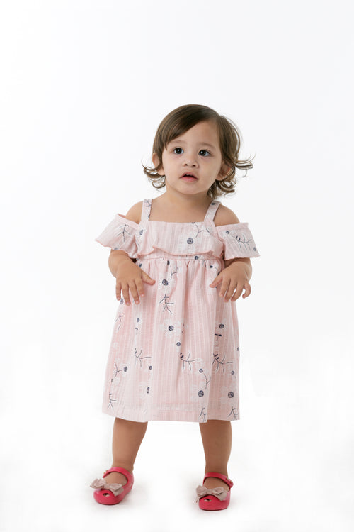 Cold-Shoulder Ruffled Dress - Blush Pink (IGDS 104)