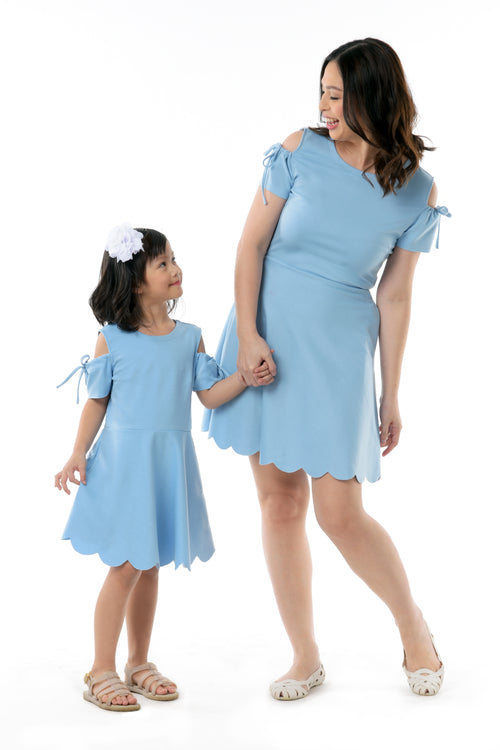 Cold Shoulder Skater Dress - Sky Blue (MDS 051)