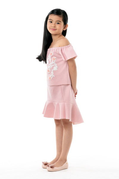 Bardot Top with Flounce Skirt Set - Pink Blossom (GSET 031)